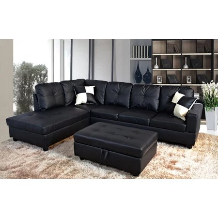 3 Piece Faux Leather Contemporary Left Facing Sectional Sofa Set With Ottoman 2 Accent