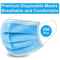 Disposable Face Masks, 200 Pack , 3-ply Elastic Ear Loop Filter Disposable Face Mask