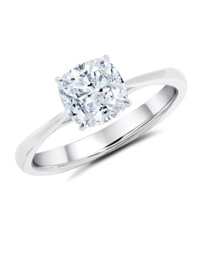 1 Carat Cushion cut Moissanite Solitaire Engagement Ring in White Gold