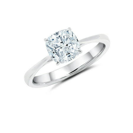 1 Carat Cushion cut Moissanite Solitaire Engagement Ring in White (2 Carat Cushion Cut Pave Engagement Ring)