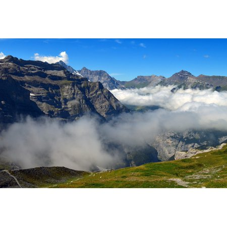 canvas print alpine landscape outlook mountains rock clouds stretched canvas 10 x -