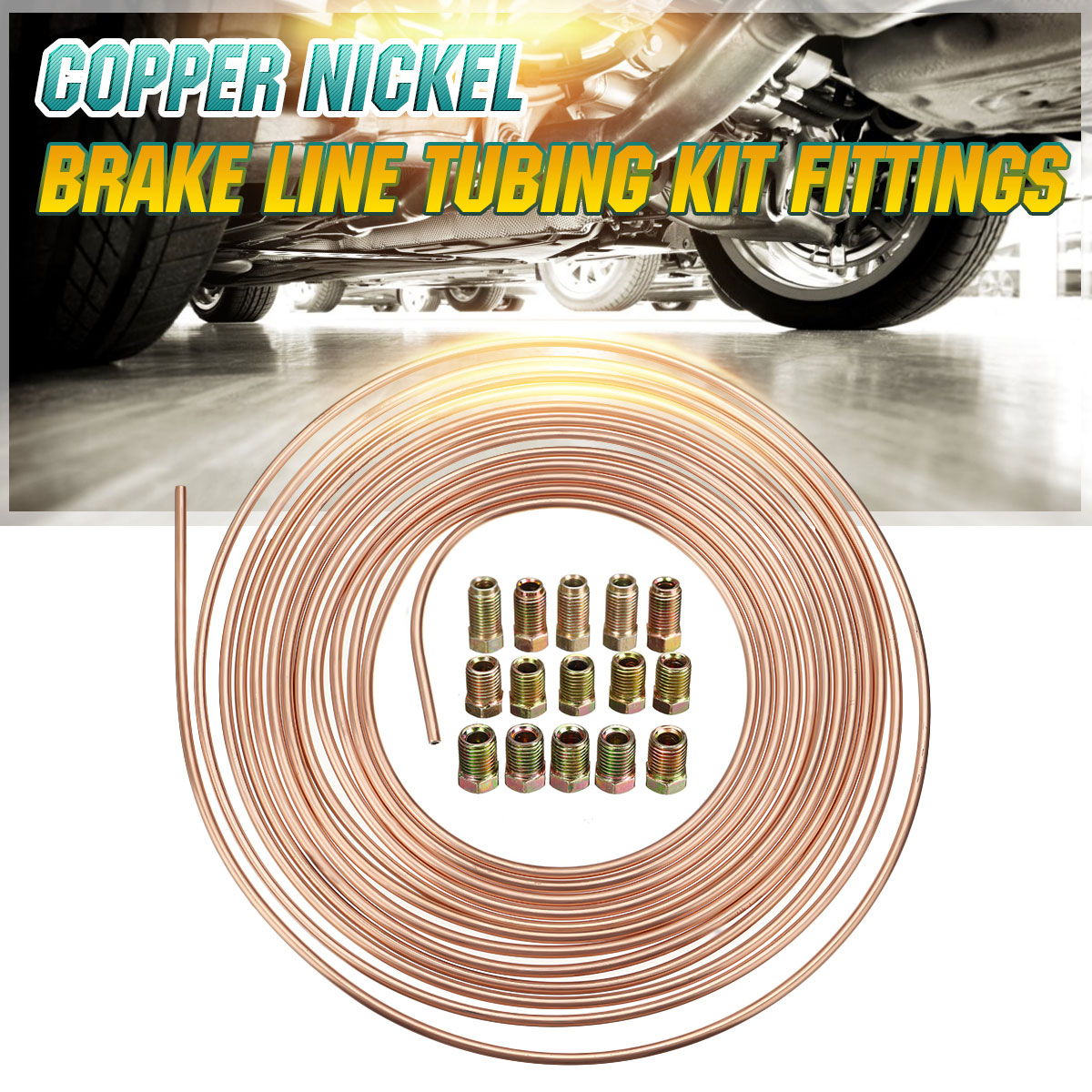 """Roll Coil of 3//16/"""" OD Copper Nickel Brake Line Tubing Kit with Fittings 25 Ft"""