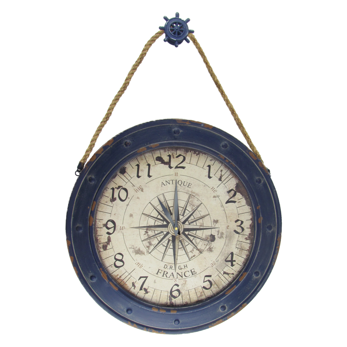 "Large 23"" Nautical Rose Compass Wall Clock Rustic Beach House Coastal Home Decor"