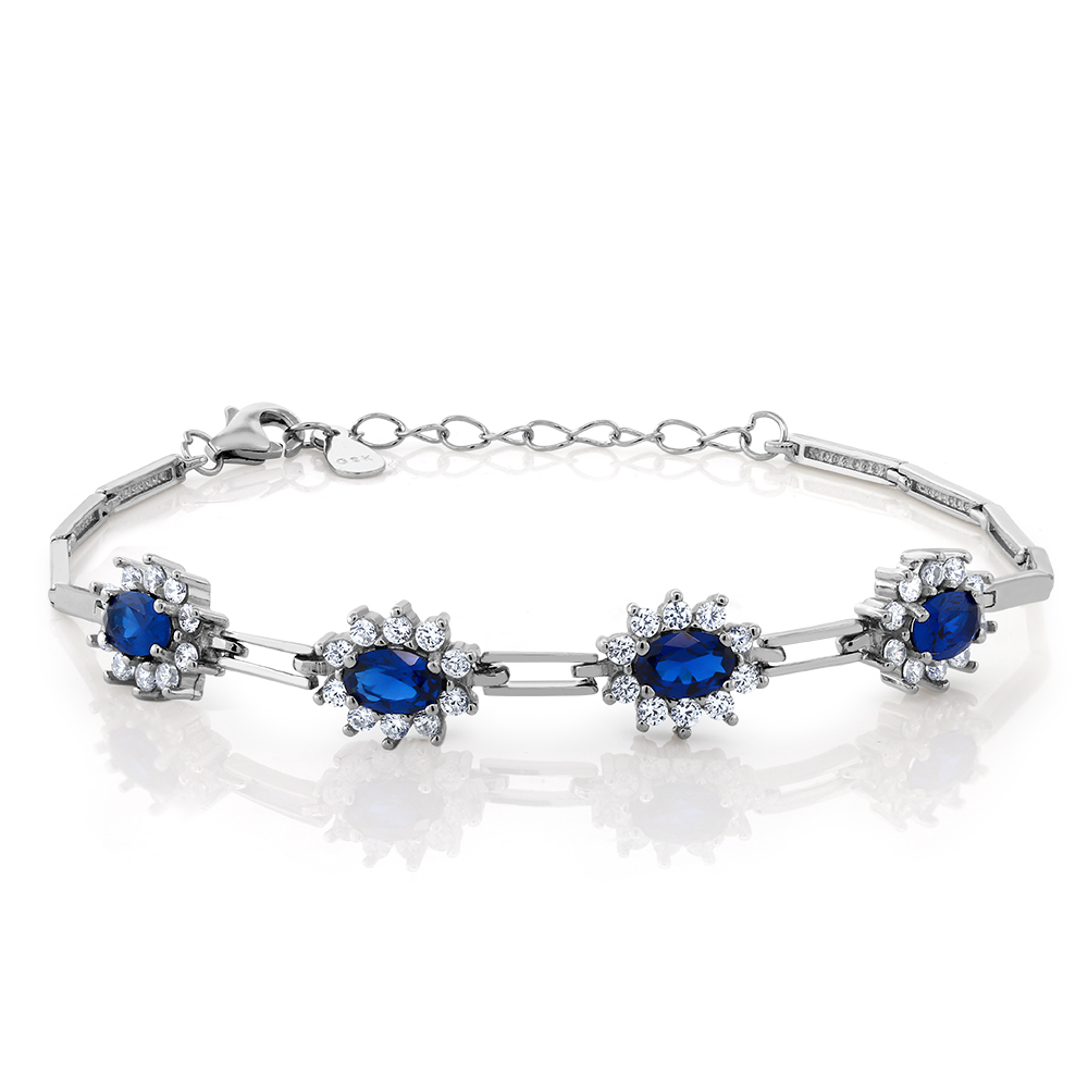 """Stunning 2.36 Ct Created Sapphire Sterling Silver 7"""" Bracelet with 1"""" Extender"""