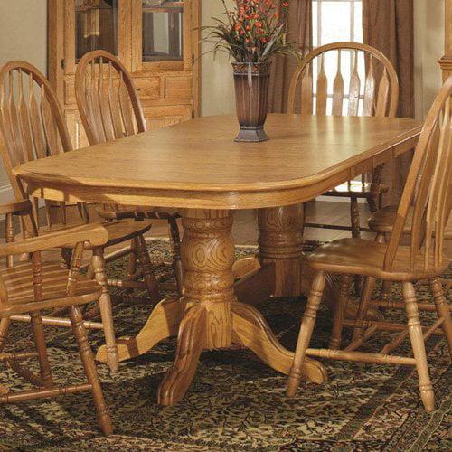 Tallis Double Pedestal Dining Table in Harvest Oak Finish