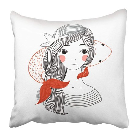 BPBOP Beautiful Young Girl Sailor and the Japanese Carp Starfish in Hair Hand Drawing Objects on White Pillowcase 18x18 inch ()