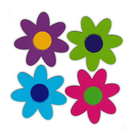 Magnetic Bumper Sticker - Set of 4 Magnets - Bright Flowers - Decoration Magnets - 4