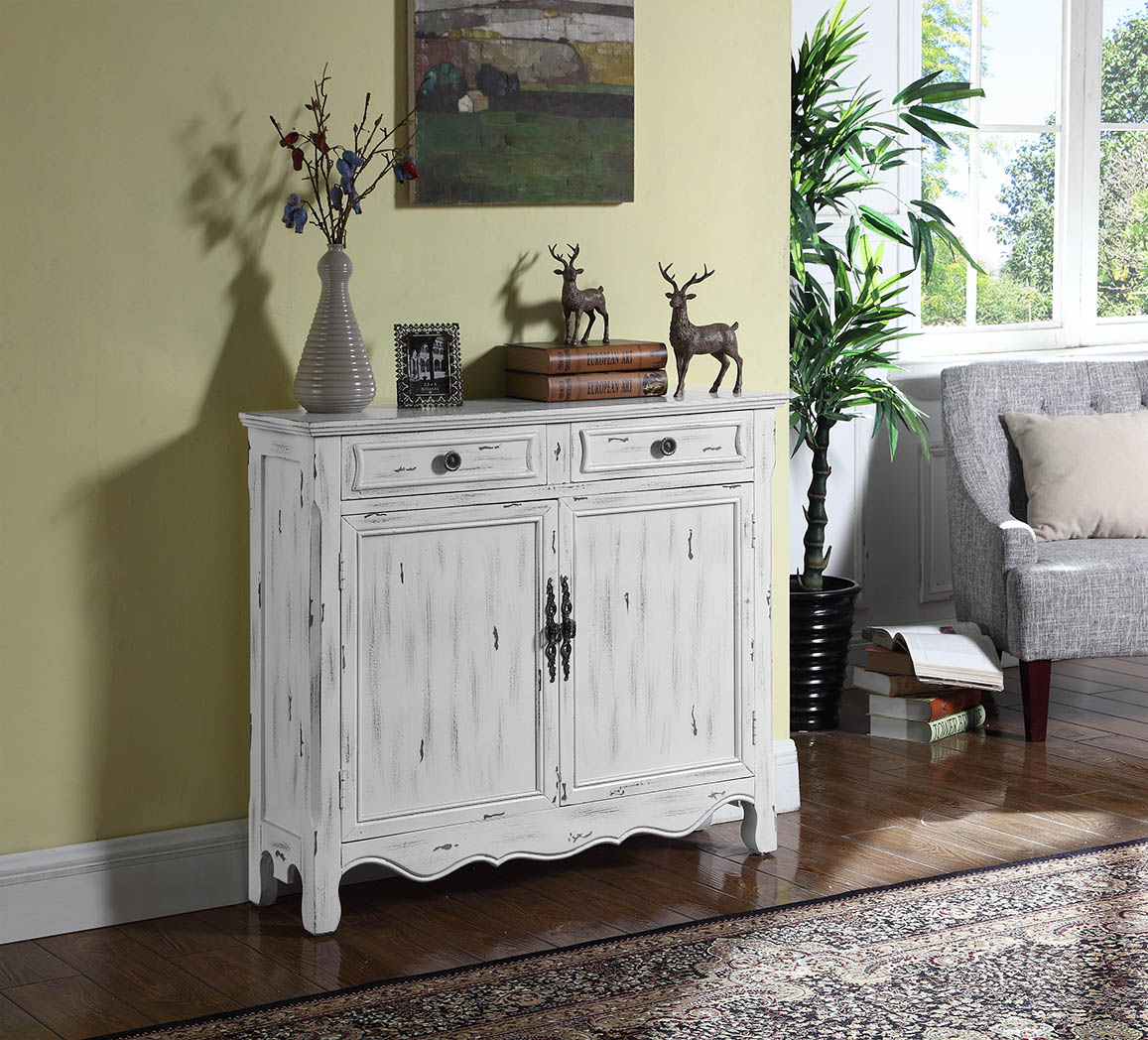 Coaster Accent Cabinet in Distressed White