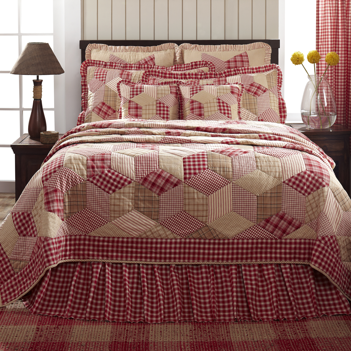 Breckenridge Red Plaid Country Patchwork Quilt - 6 Piece Set