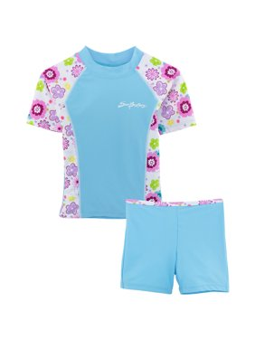 SunBusters Girls Fitted Rash Set(UPF 50+), Mallowberry, 12/18 mos