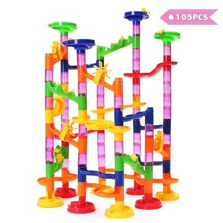 FUNTOK 105-Piece Kids Plastic Transparent Building Block Construction Round Beads Running Coaster Track for STEM, Learning, Education Children Christmas Gift - Blocks For Kids