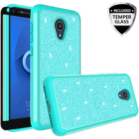 Alcatel 1X Evolve,Alcatel IdealXTRA (5059R), Alcatel TCL LX (A502DL) Case  Cover w/[ Temper Glass Screen Protector] Silicone Shock Proof Dual Layer