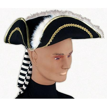 Pirate Captain Hook Buccaneer Costume Tricorn Hat Colonial Tri Corner Tricorne - Captain Hooks Hat