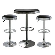 AmeriHome BSSET23 3 Piece Soda Fountain Style Bar Set - Black
