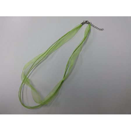 "5 Necklaces - Lime Green Organza Ribbon 16"" Cord Lobster Clasp Wax 3 strand O-5"