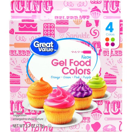 (3 Pack) Great Value Gel Food Colors, Neon, 4 Count - Wilton Food Coloring