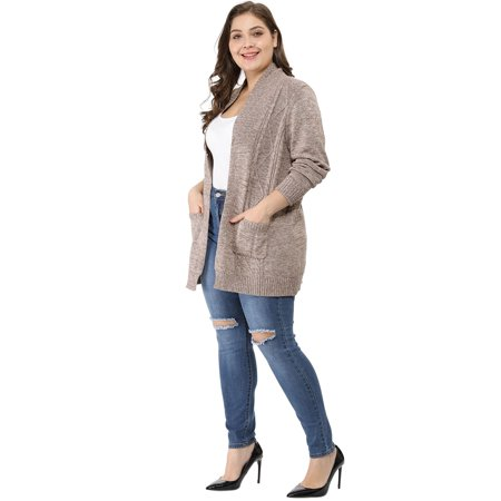 Women Plus Size Shawl Collar Open Front Sweater Cardigan Brown 3X - image 4 of 6
