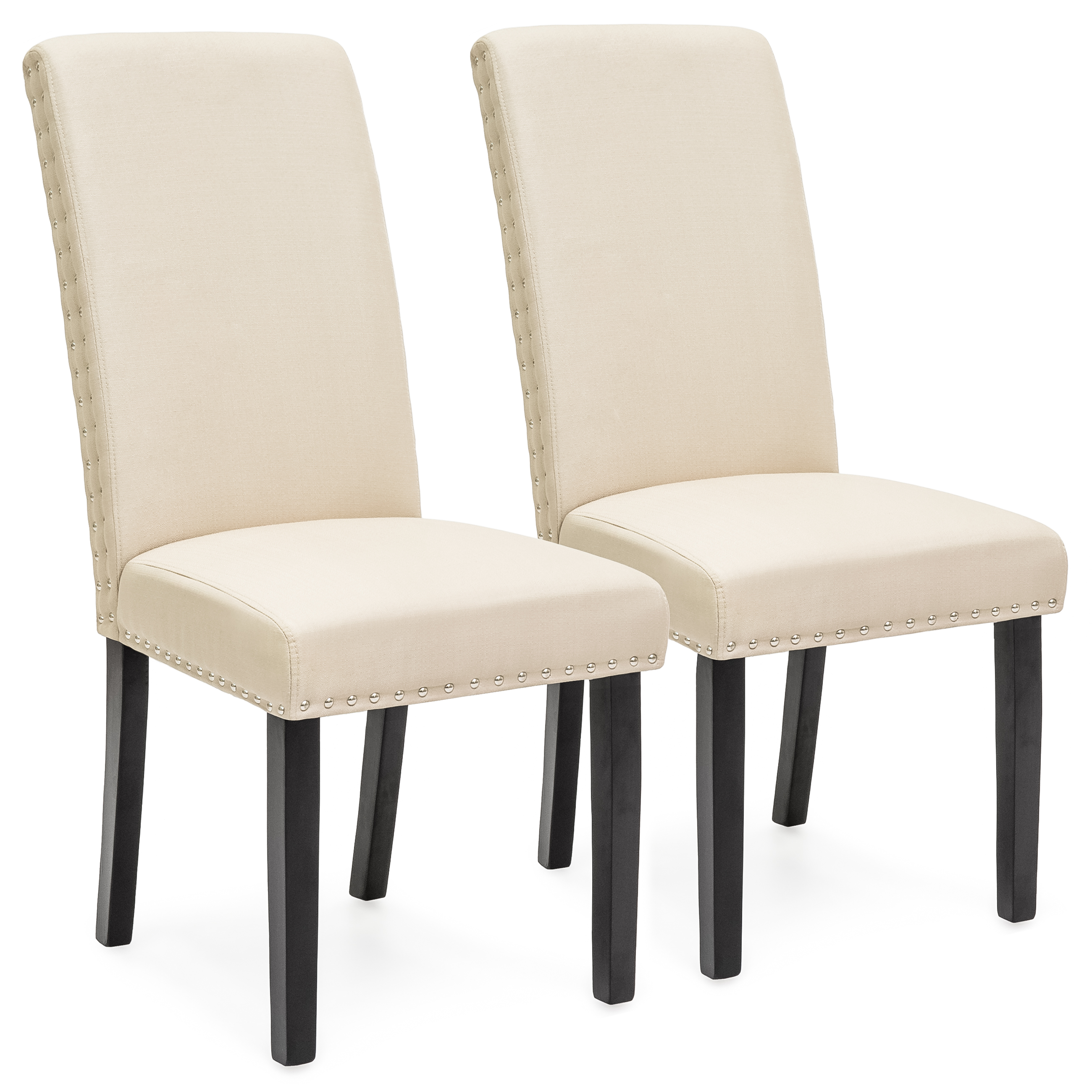 Best Choice Products Set of 2 Studded Polyester Parsons Dining Chairs Beige by