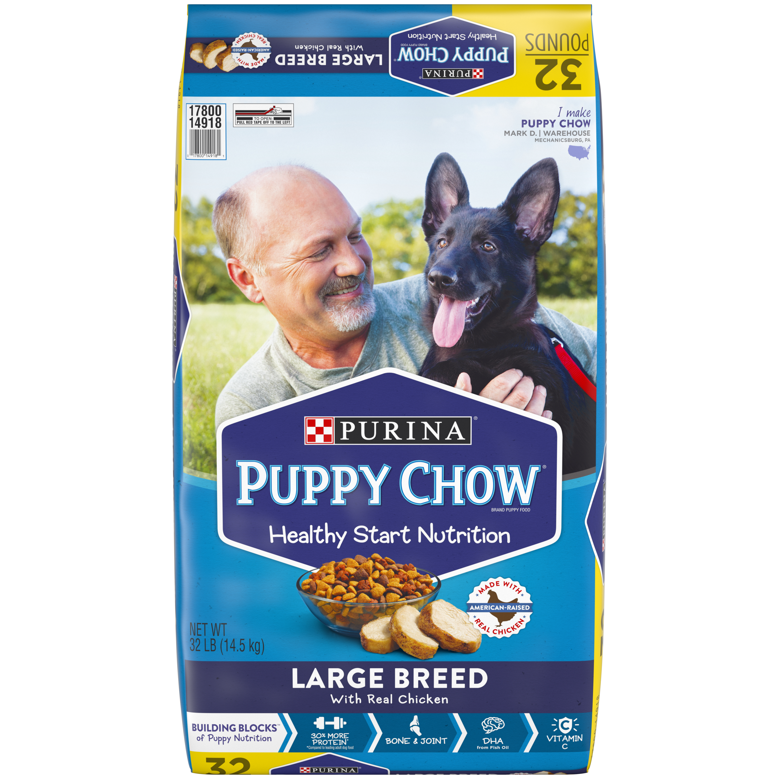Purina Puppy Chow High Protein Large Breed Dry Puppy Food; With Real Chicken - 32 lb. Bag