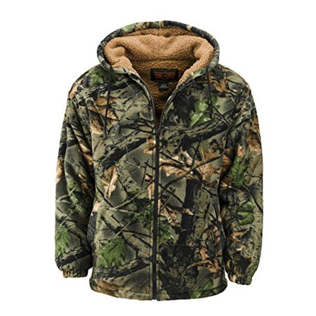 Trail Crest Men's Sherpa Lined Camo Hooded Jacket W/ Magnet, (Chestnut Hill Trail Jacket)
