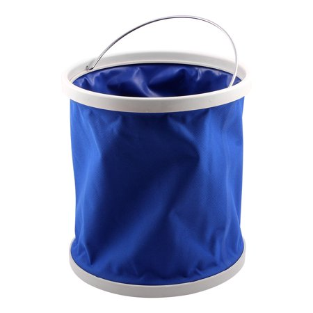 - Camping Boating Utility Collapsible Foldable Bucket  Container Blue 11L