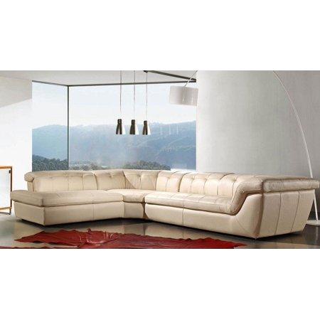 Calligaris Italian Furniture - J&M 397 Modern Full Beige Italian Leather Sectional Sofa Adjustable Headres Left