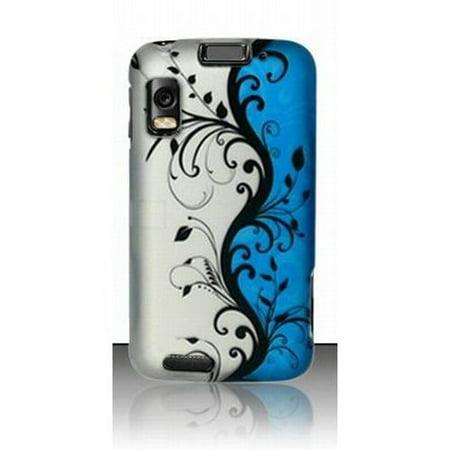 Design Crystal Hard Case for Motorola Atrix 4G - Blue Silver Black Vines