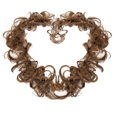 Ginger Brown Hair Extensions Wedding Elastic Band Curly Updo Ponytail Hairpiece Synthetic Wig Bun for - Ginger Wig