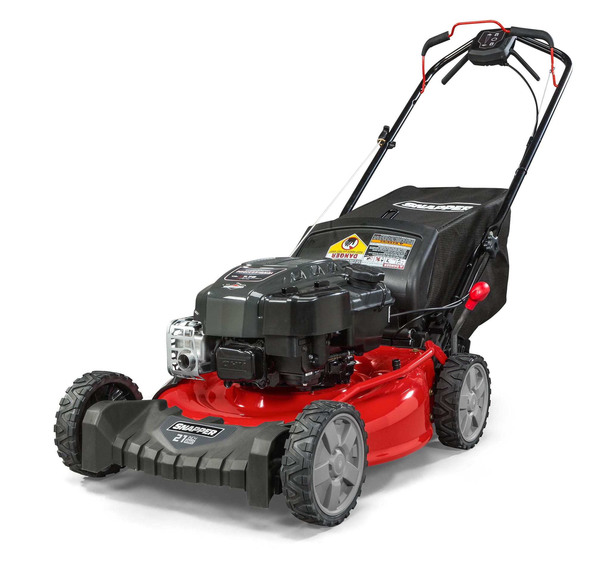 "Snapper 21"" Gas Self Propelled Rear Wheel Drive Lawn Mower with Briggs and Stratton Engine, Side Discharge, Mulching, Rear Bag"