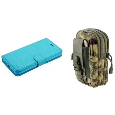 MyJacket Synthetic PU Leather Magnetic Flip Cover Wallet Case (Baby Blue) with ACU Camo Tactical EDC MOLLE Belt Bag Pouch and Atom Cloth for iPhone XS Max - Camouflage Wallet