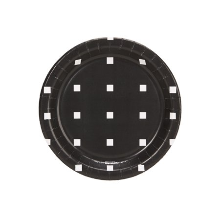 Halloween Black And White Square Dot Dessert Plate (8 Count) - Halloween Dessert Ideas For Adults
