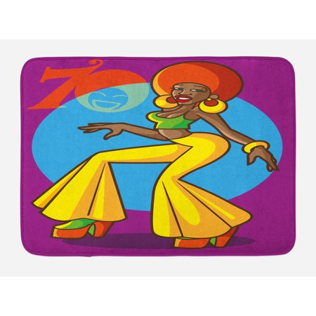 70s Party Bath Mat, African American Woman Dancing at the Disco Funky Fashion with Smiling Face Art, Non-Slip Plush Mat Bathroom Kitchen Laundry Room Decor, 29.5 X 17.5 Inches, Multicolor, Ambesonne - 70s Disco Womens Fashion