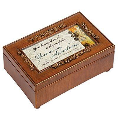 Cottage Garden You are My Sunshine Walnut Finish with Rose Gold Trim Jewelry Music Box