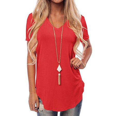 6a67ac42c24 Women's Short Sleeve T Shirt V Neck Curved Hem Side Slit Solid Summer Loose  Casual Tee Blouse Tops