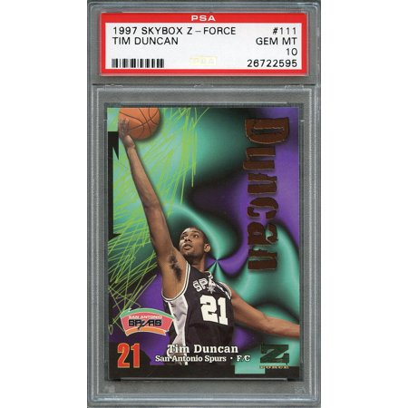 1997 98 Skybox Z Force 111 Tim Duncan San Antonio Spurs Rookie Card Psa 10