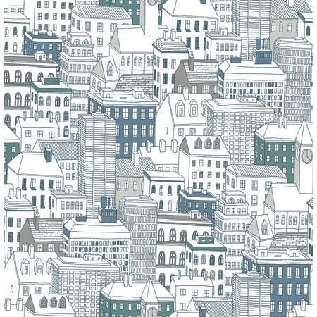 Brewster West Teal City Wallpaper - Windy City Wallpaper
