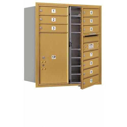 "Salsbury Industries 4C Horizontal Mailbox 9-Door High Unit (34""), Double Column, 10 MB1 Doors, 1 PL6, Aluminum, Front Load, USPS Access"