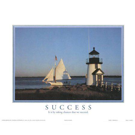 Success It is by Taking Chances that We Succeed Lighthouse Motiv... Mini