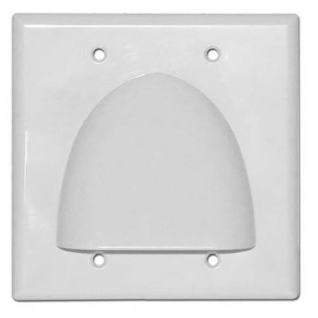Skywalker Signature Series Double Gang Bundled Cable Wall Plate, White (Signature Wall Plate)