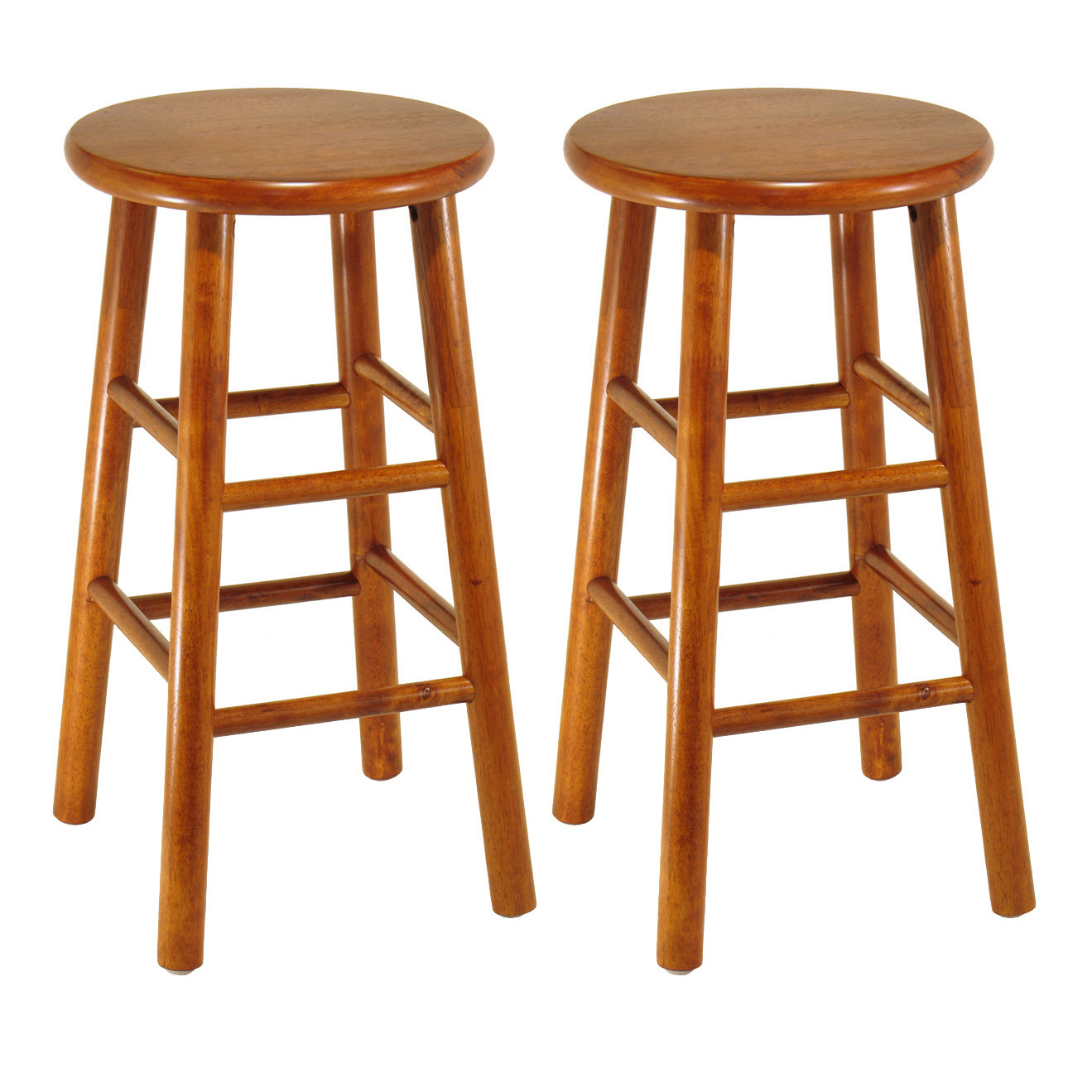 "Winsome Wood Tabby 24"" Beveled Seat Stools, Set of 2, Multiple Finish"