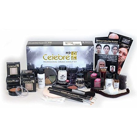 LWS LA Wholesale Store  Mehron Celebré Professional HD Cream Makeup Kit |Complete Makeup Artist Beauty Set for Theatre, Stage, Movies, Special Effects, Videos, Photography|Skin, Eyes & Hair - Halloween Special Effects Makeup Tutorials