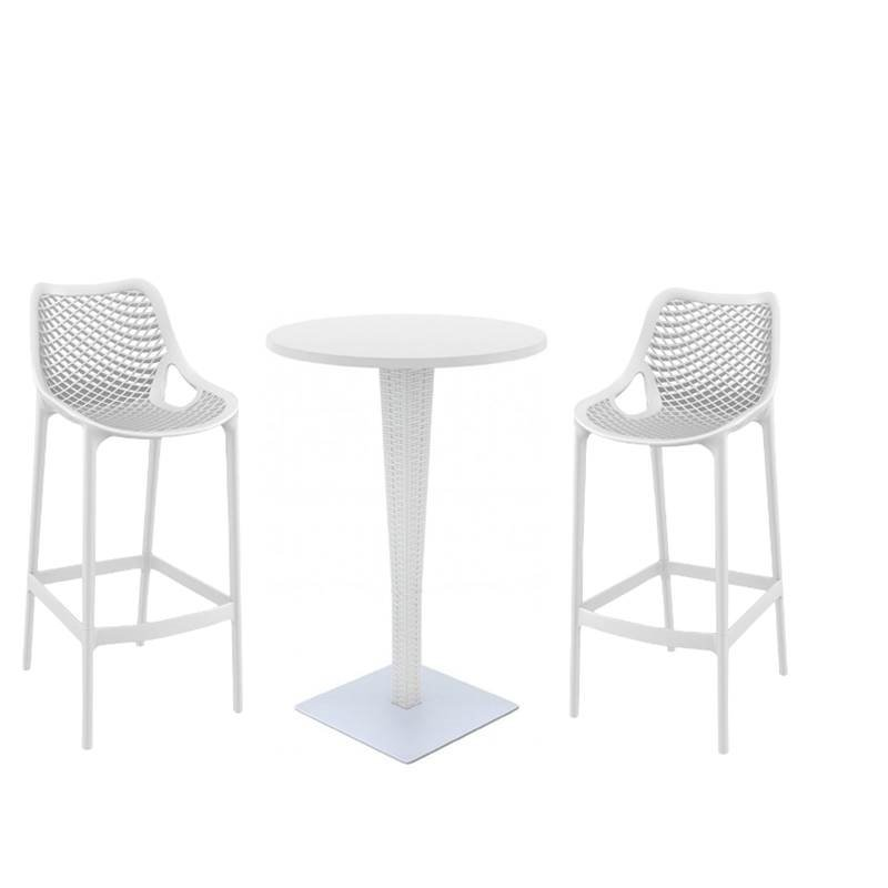 3 Piece Patio Pub Set with Pub Table and Set of 2 Bar Stool in White by