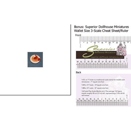 Dollhouse Miniature Waffle Plate W/strawberries w/3-Scale Wallet Ruler