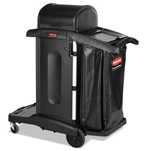 Rubbermaid High Security Executive Janitor Cleaning Cart, Black