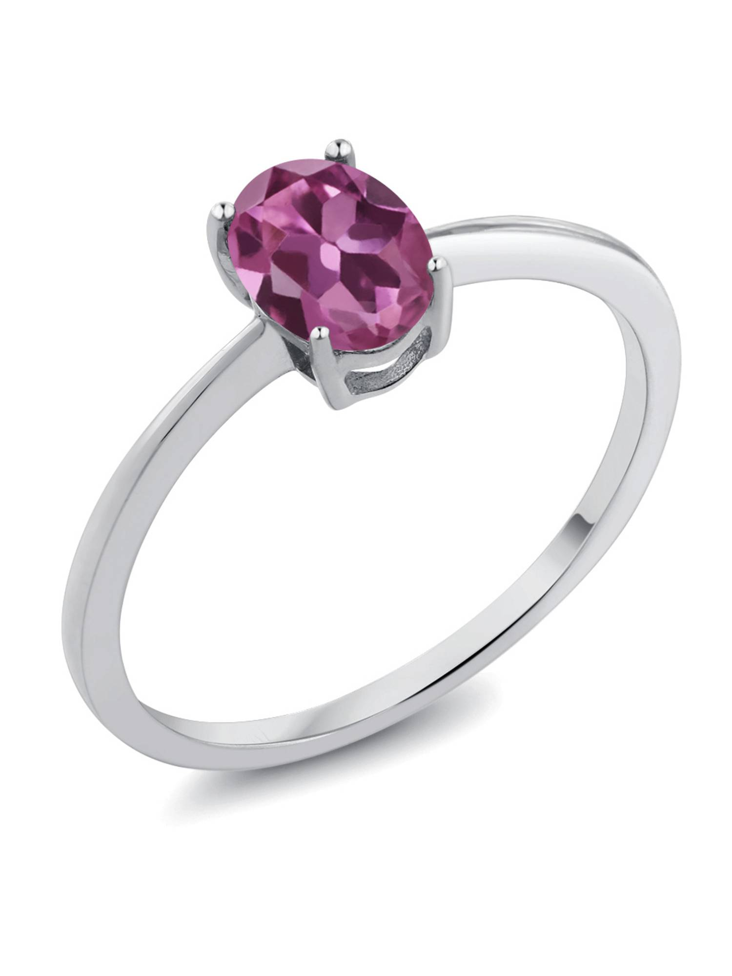 0.70 Ct Oval Pink Tourmaline AA 10K White Gold Women's Solitaire Ring by