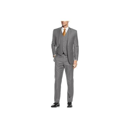 Salvatore Exte Mens Suit Vested Three Piece Blazer Jacket Dress Vest Plus Pants Gray