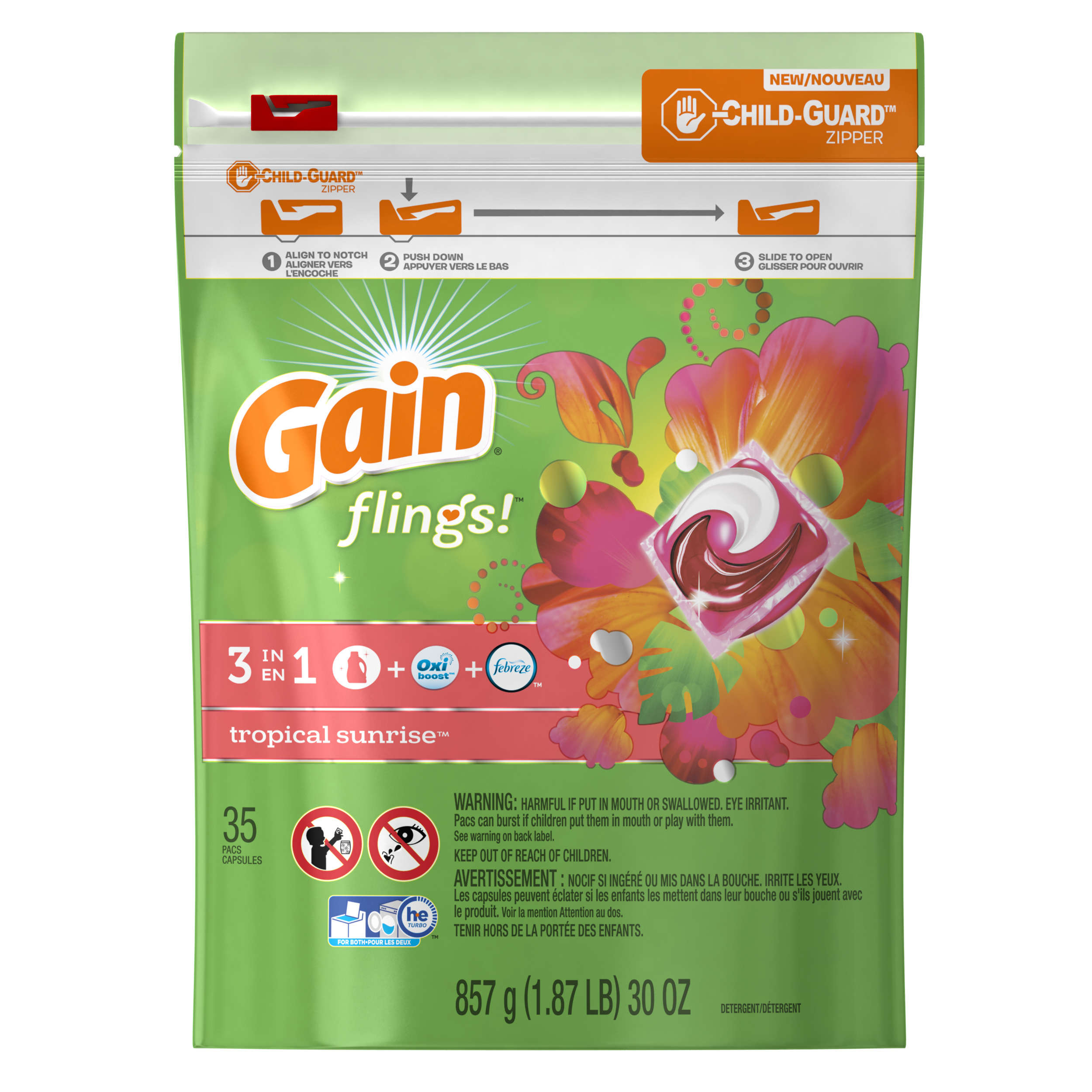 Gain flings! Laundry Detergent Pacs, Tropical Sunrise, 35 count