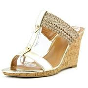 Tommy Hilfiger Eleona Women  Open Toe Synthetic Gold Wedge Sandal