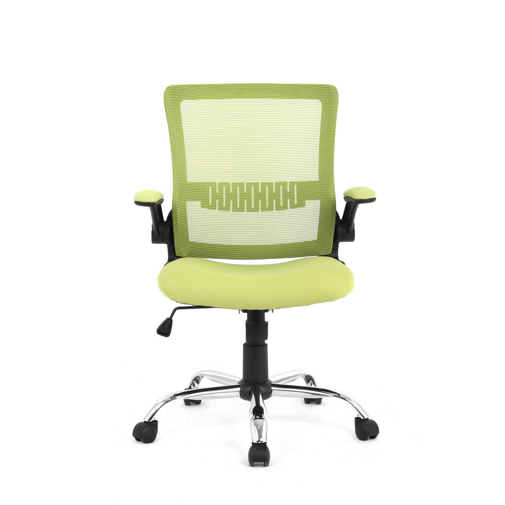 Moustache Mesh Office Chairs With Flip Up Arms Mid Back Green
