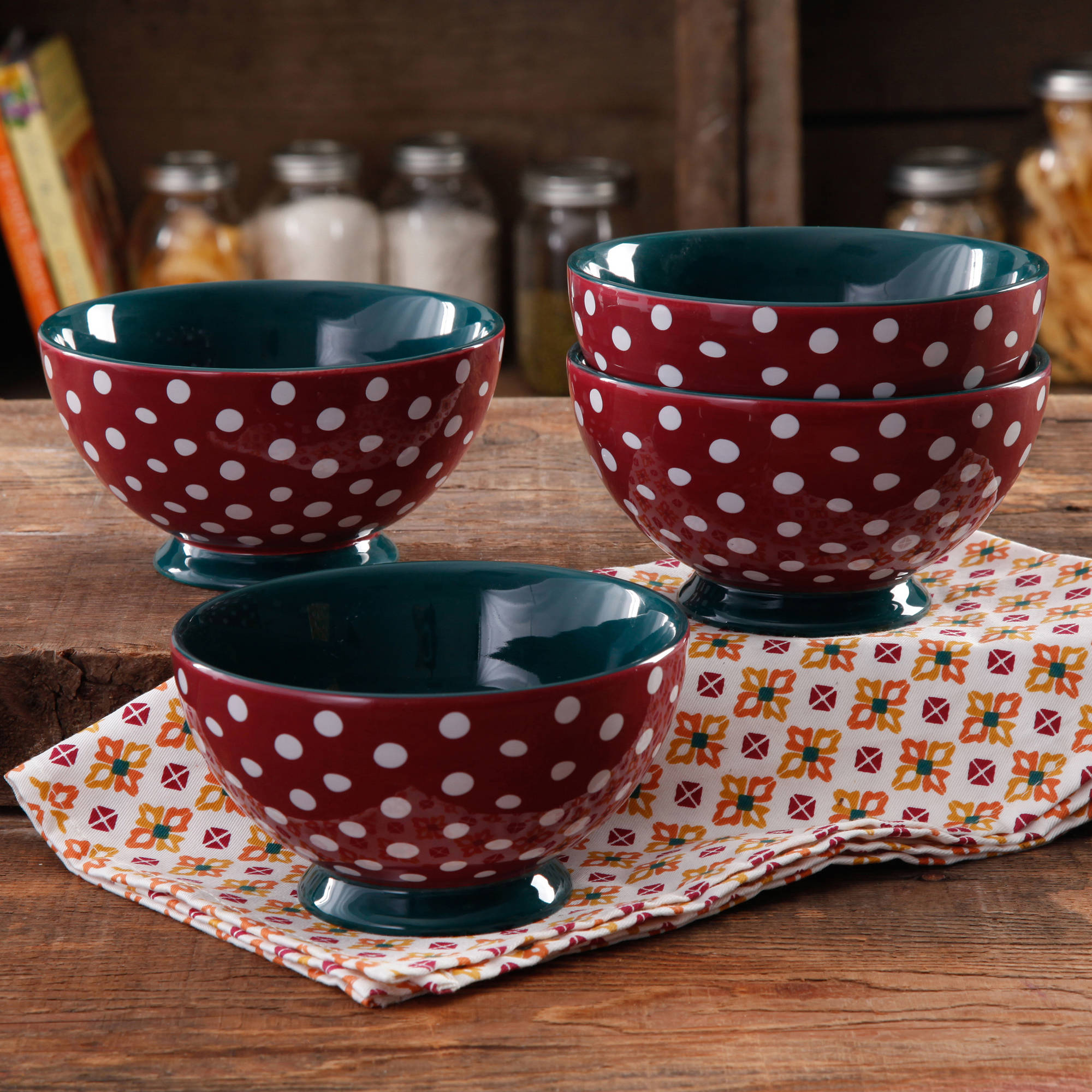 The Pioneer Woman Retro Dots 6  Footed Bowl, 4-Pack
